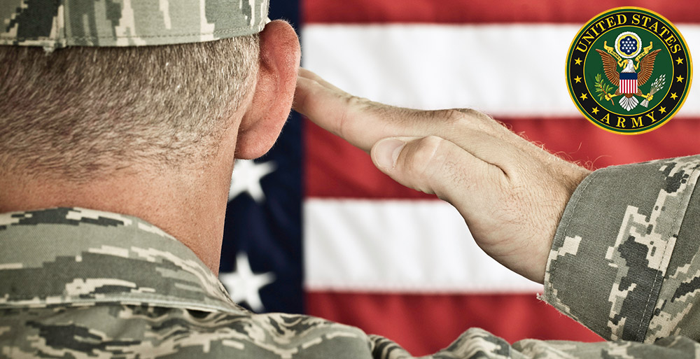 United States Army Sargent Saluting Flad